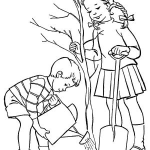 300x300 Boy Caring For Tree On Arbor Day Coloring Pages Best Place To Color