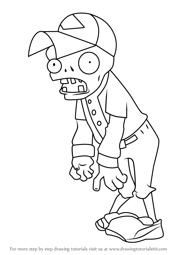596x843 Learn How To Draw Baseball Zombie From Plants Vs. Zombies (Plants
