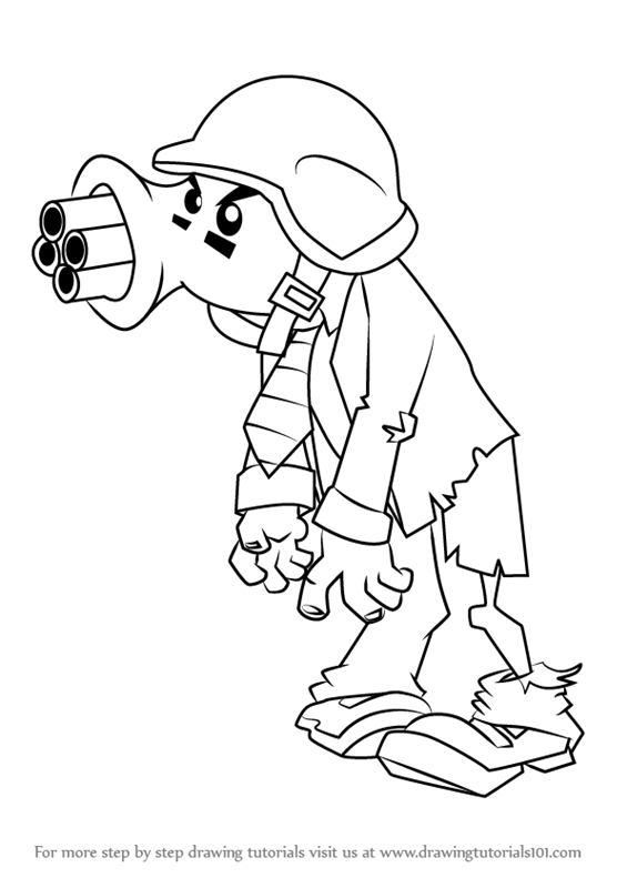 565x800 Learn How To Draw Gatling Pea Zombie From Plants Vs. Zombies