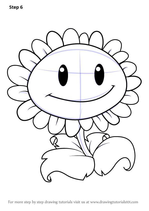 596x843 Learn How To Draw Giant Sunflower From Plants Vs. Zombies (Plants