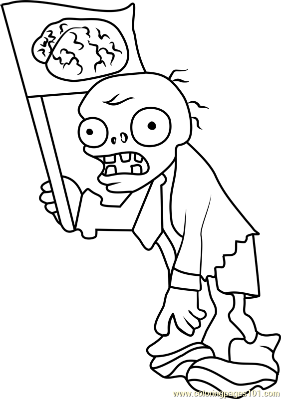 563x800 Flag Zombie Coloring Page