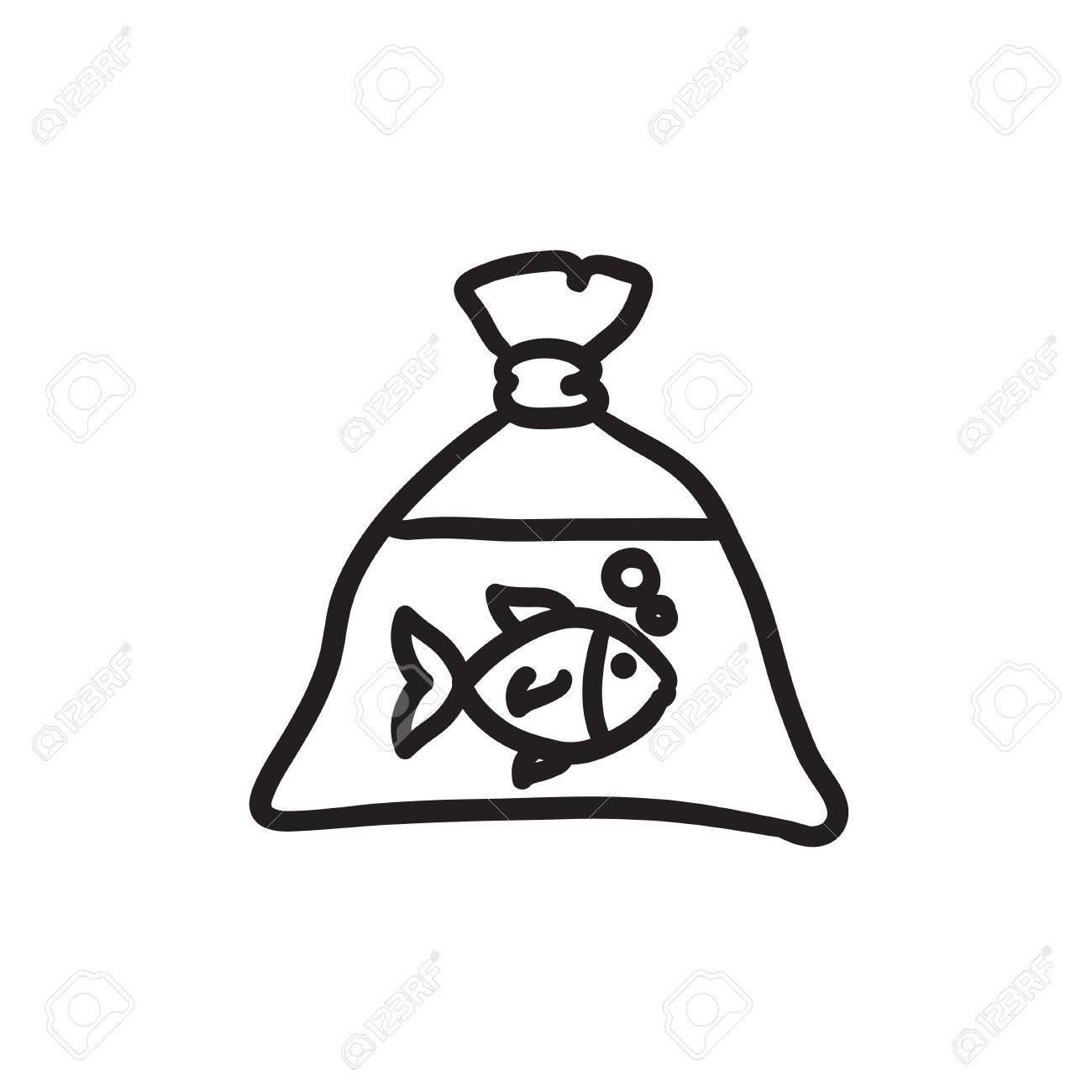 1300x1300 Fish In Plastic Bag Sketch Icon. Royalty Free Cliparts, Vectors