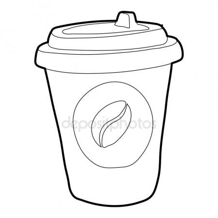 450x450 Plastic Cup Of Coffee Icon, Outline Style Stock Vector