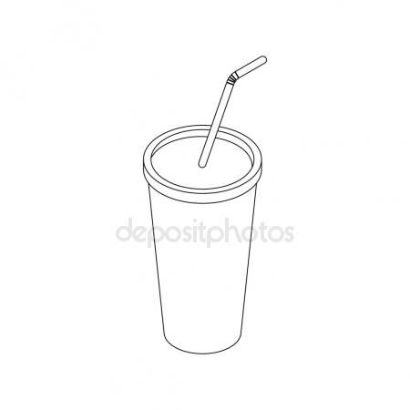 450x450 Soda In Plastic Cup With Straw Sketch Icon Stock Vector