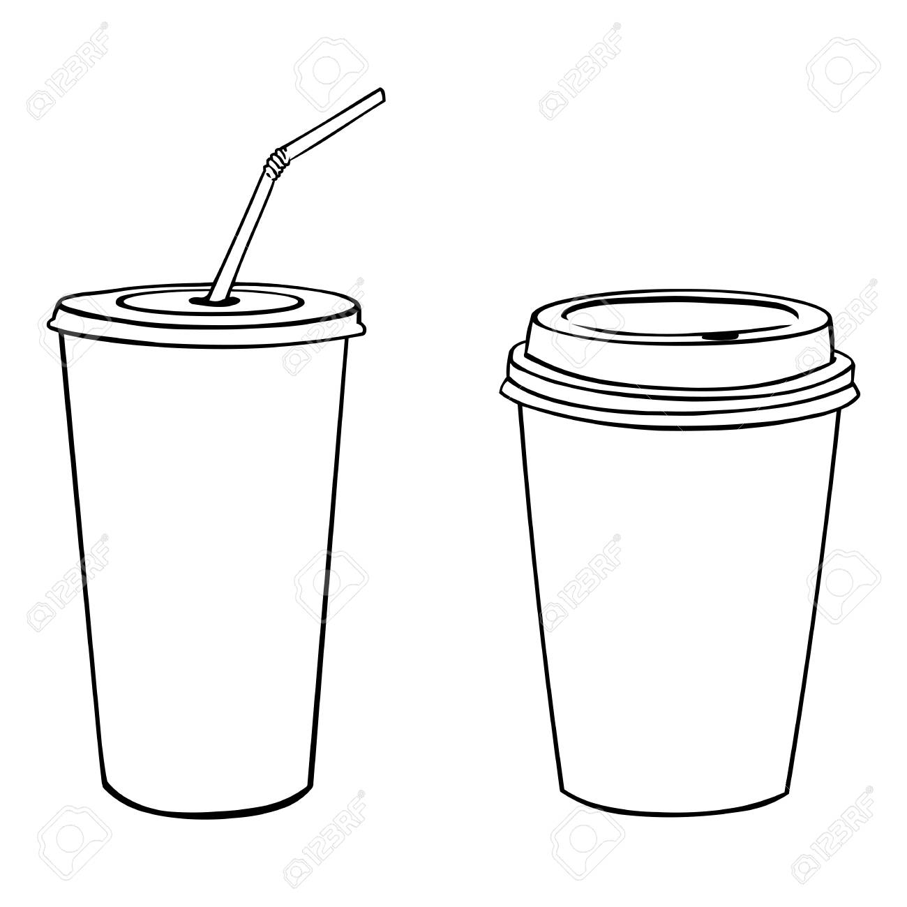 1300x1300 Vector Silhouettes Of Plastic Cups On White Background Royalty