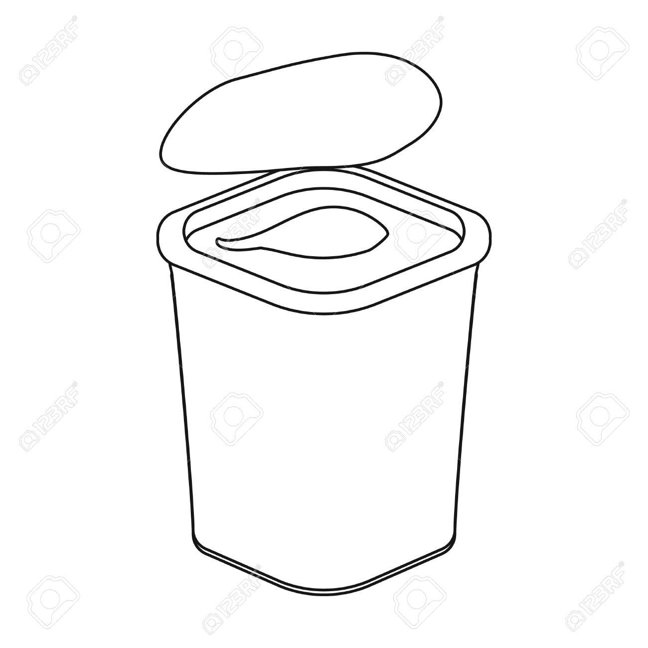 1300x1300 Yogurt In The Plastic Cup Icon In Outline Style Isolated On White