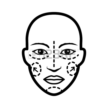 450x450 Plastic Cosmetic Surgery On Face With Dotted Lines Flat Vector