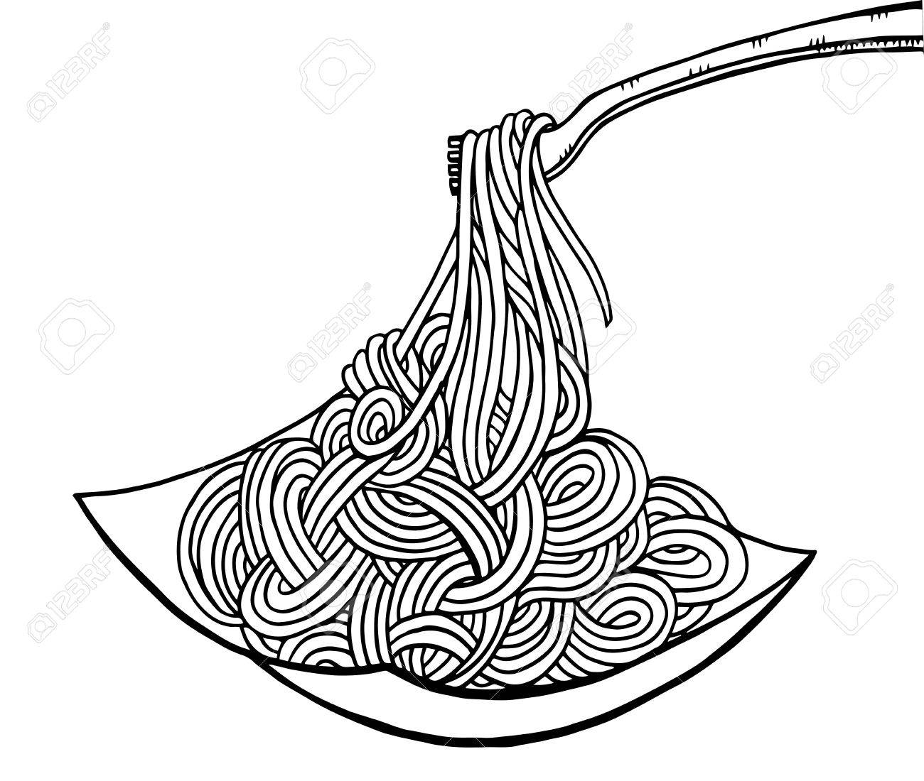 1300x1100 Doodle Noodle At Plate And Fork. Hand Drawing Royalty Free