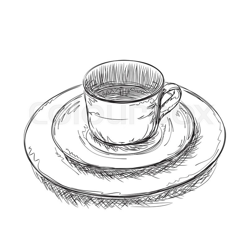 800x724 Hand Drawn Cup And Plate. Dishware Sketch Stock Vector Colourbox