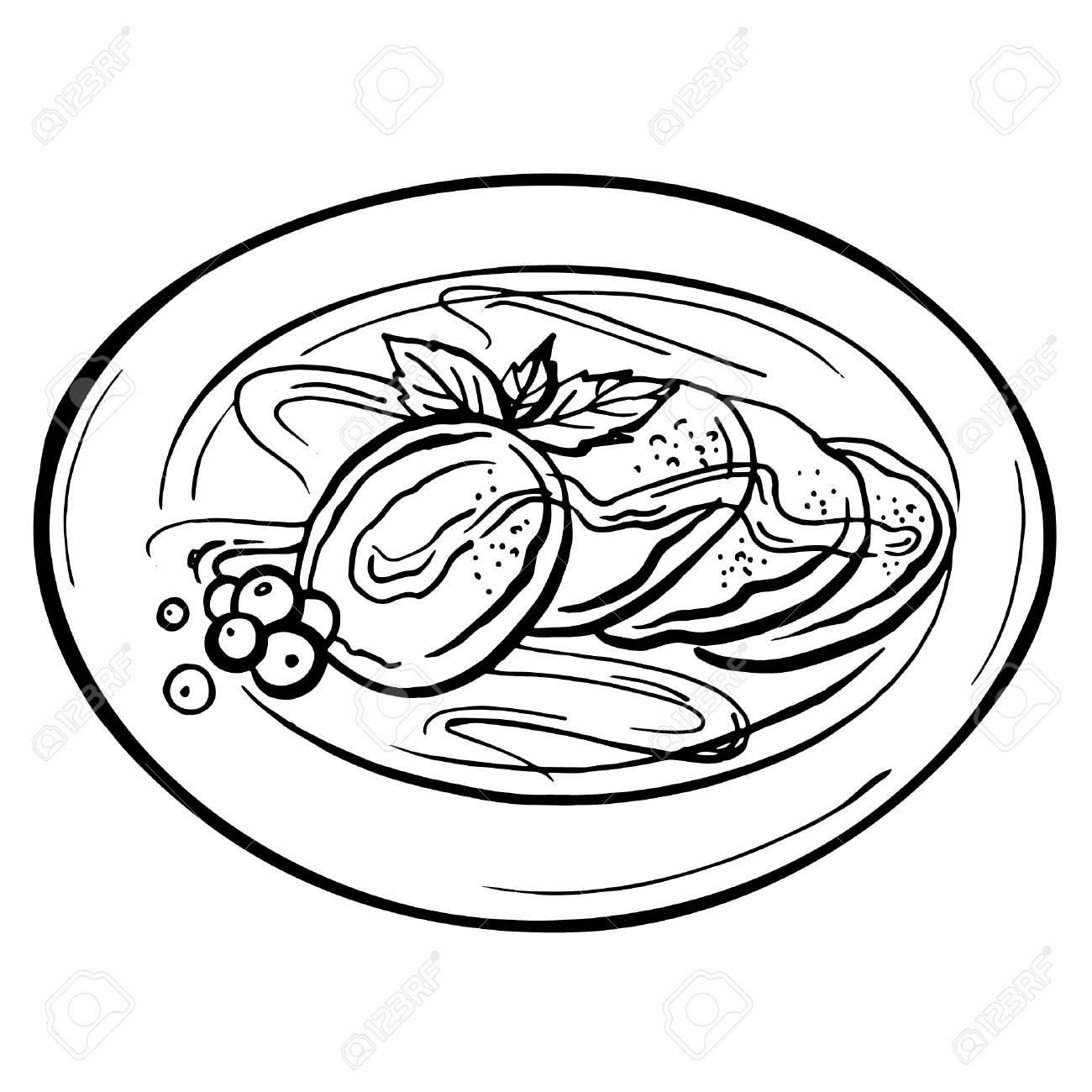 1300x1300 Pancakes With Fresh Berries On The Plate. Cartoon Sketch Drawn