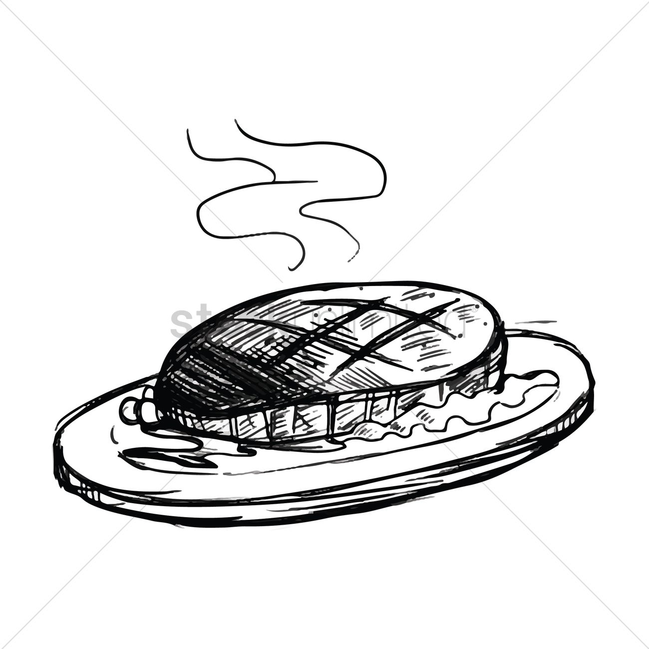 1300x1300 Steak On Plate Vector Image