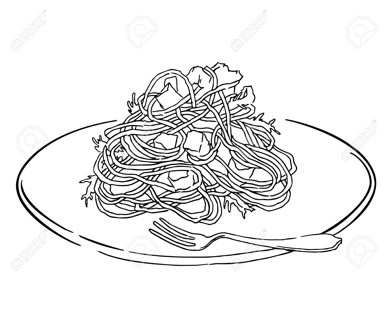 1300x1083 Vector Sketch Of Spaghetti Plate. Italian Food Draw. Isolated