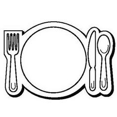 236x236 Black Line Drawing Of Plate, Glass, Utensils For Kids