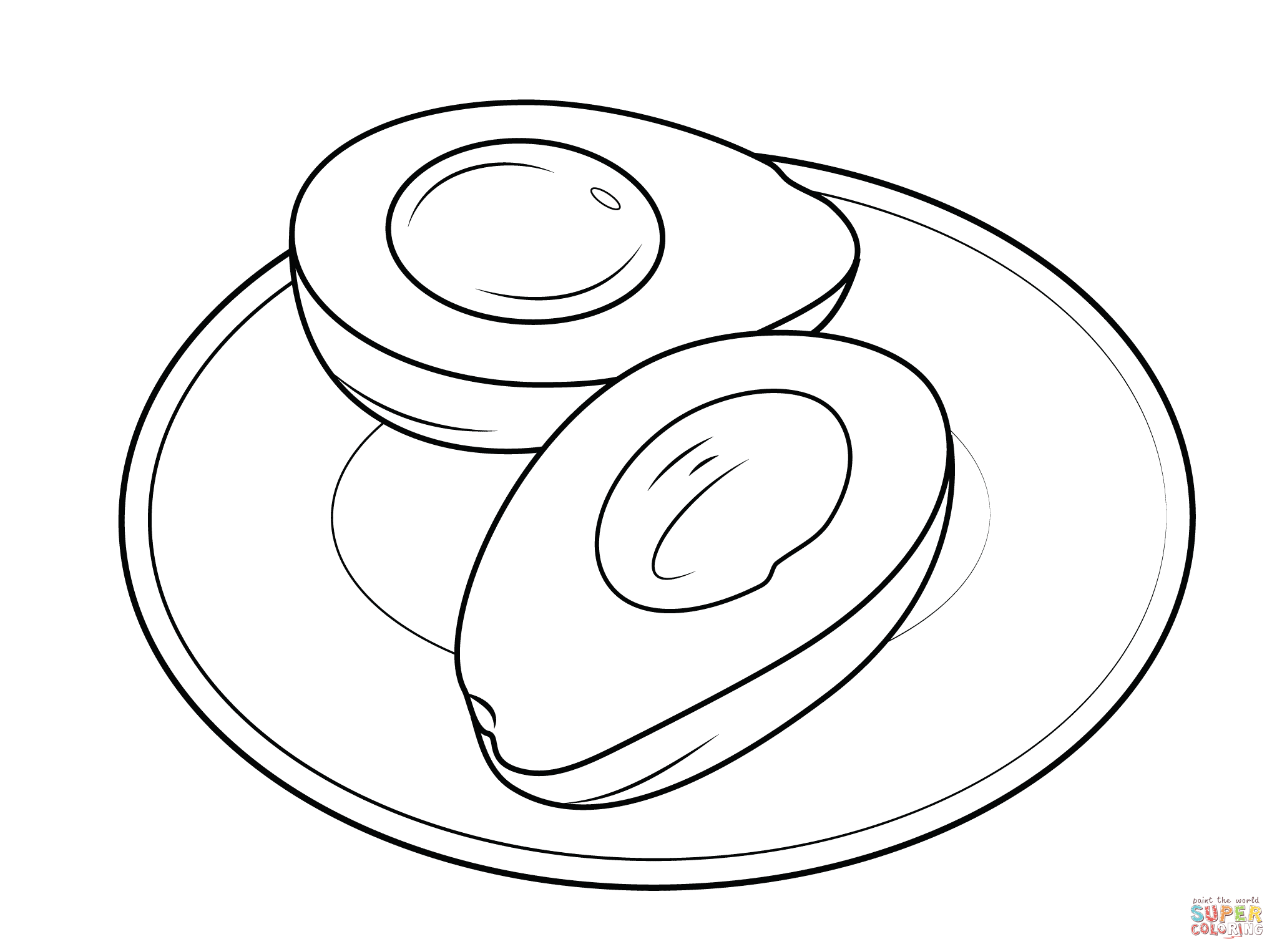 2046x1526 Avocado On A Plate Coloring Page Free Printable Coloring Pages