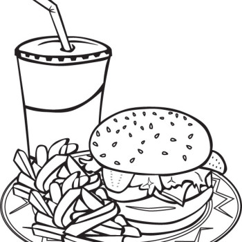 Plate Of Food Drawing At Getdrawingscom Free For Personal Use - Coloring-page-food