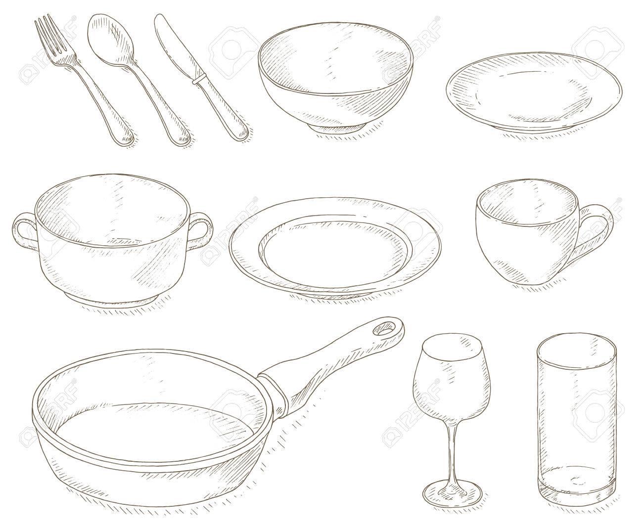 1300x1070 Empty Dishes Set. Kitchen Utensil Sketch. Dinnerware Plates