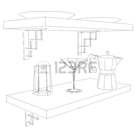 450x441 Sketch Drawing Of Built In Kitchen Stove And Oven Black And White