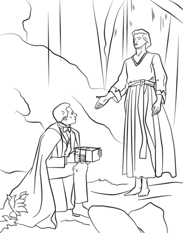 377x480 Angel Moroni Gives Plates To Joseph Smith Coloring Page Free