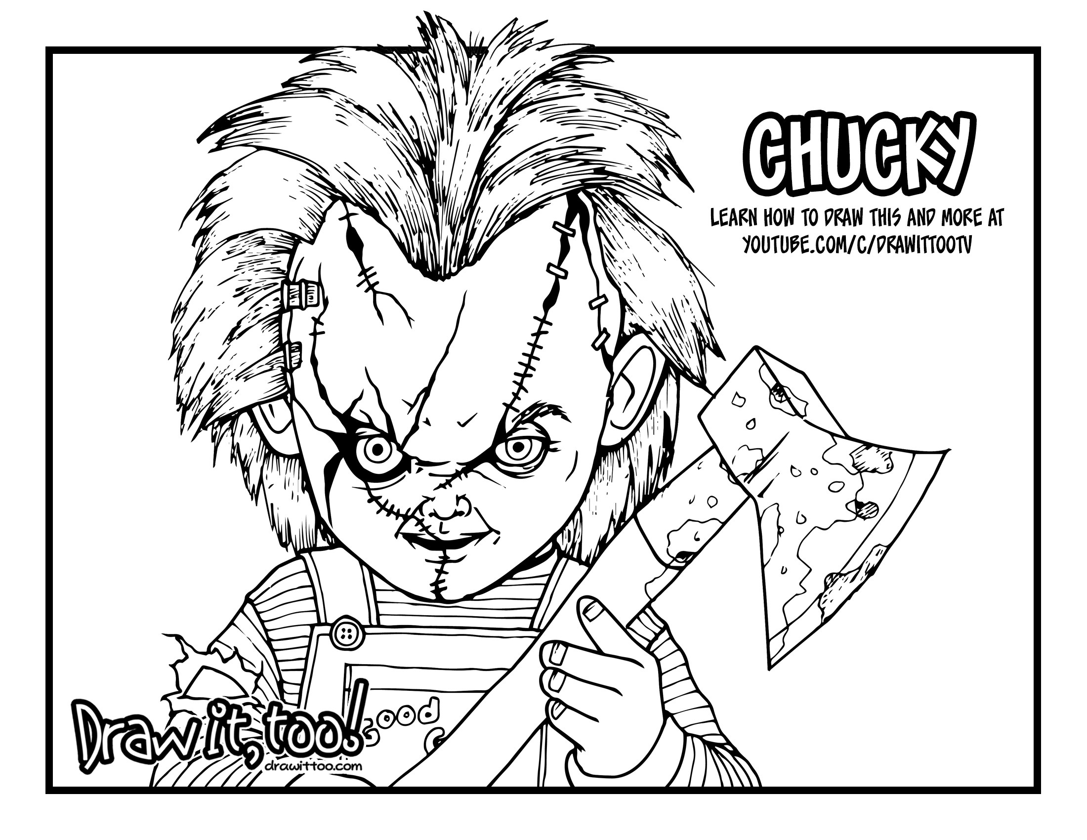 2200x1700 How To Draw Chucky (Child's Play) Drawing Tutorial