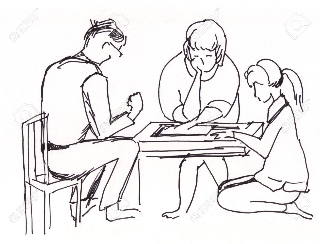1300x991 Instant Sketch, Family Play In Board Game Stock Photo, Picture