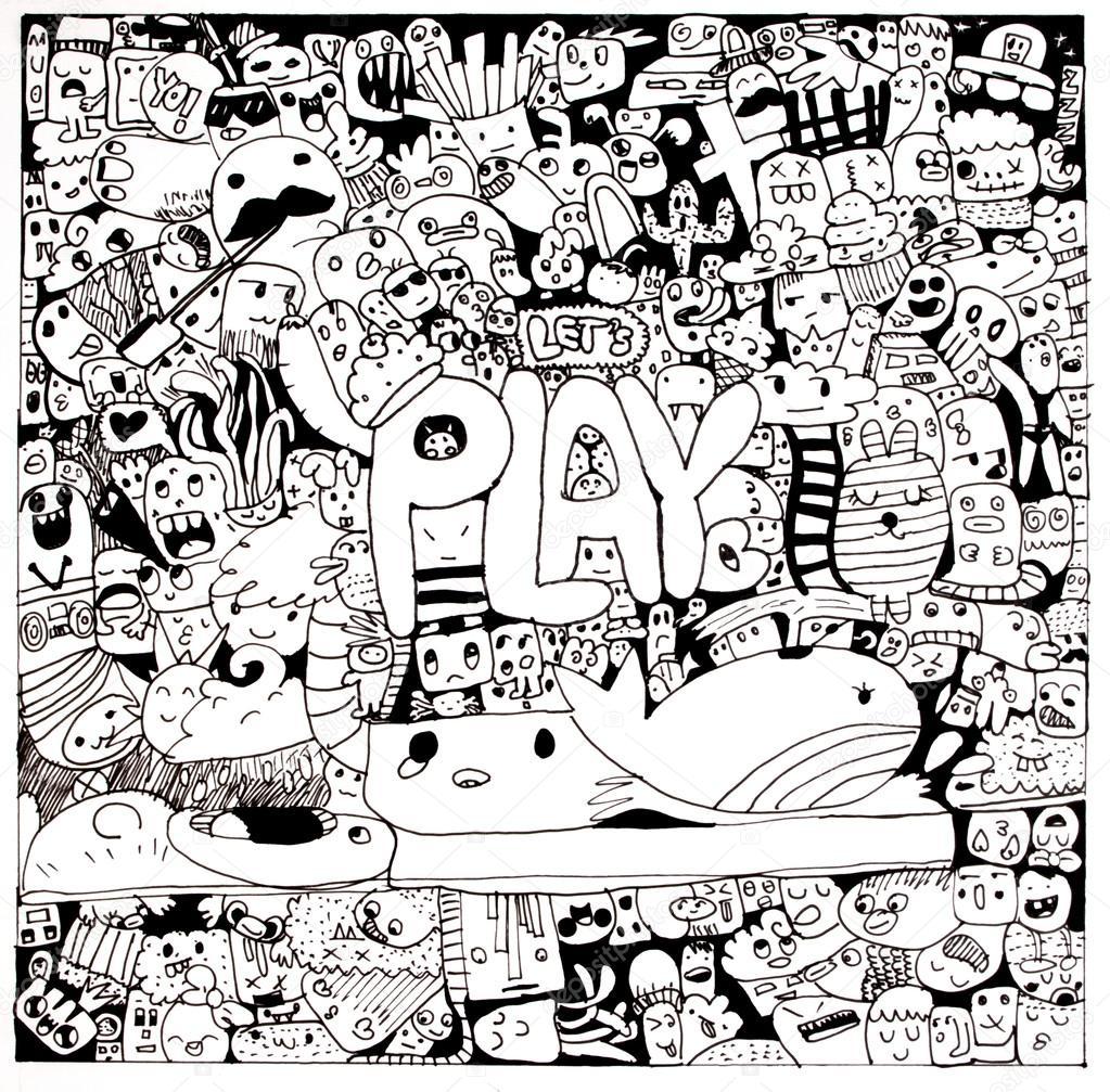 1023x1007 Cartoon Doodles Hand Draw Art. Cartoon Doodle Monsters Hand Draw