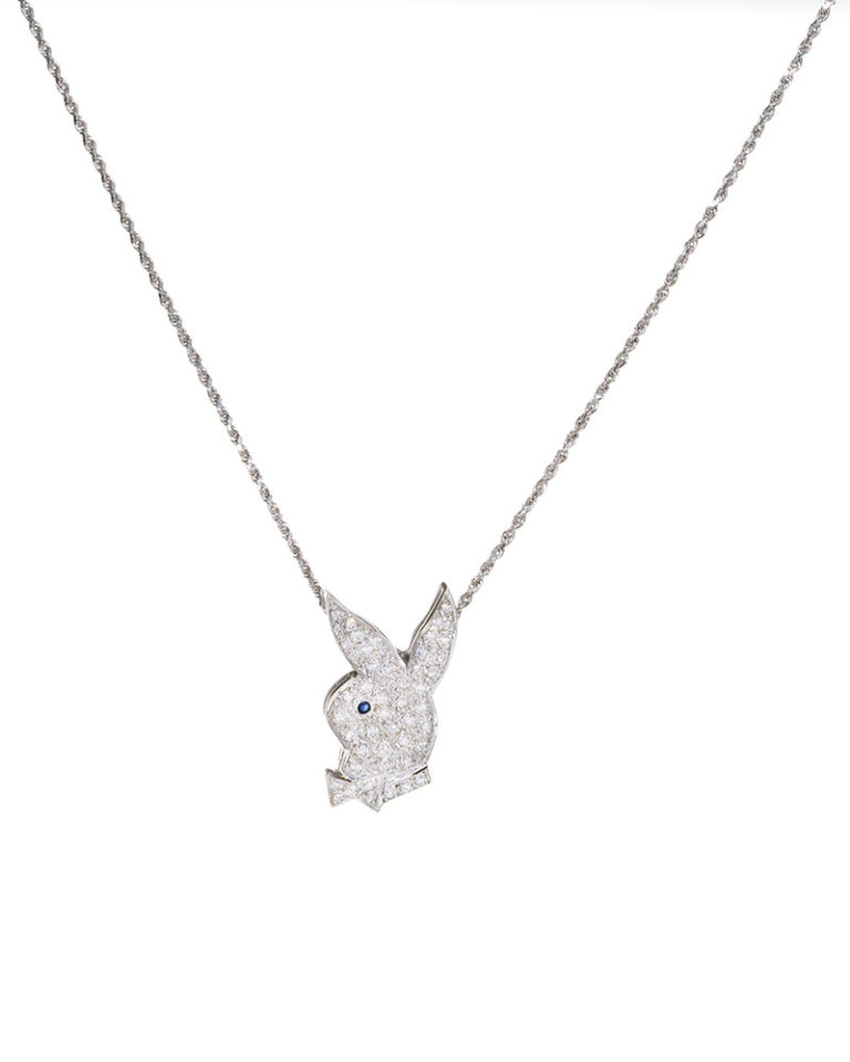 768x960 14k White Gold Playboy Bunny Necklace 2.0ct Diamond Chain Sold