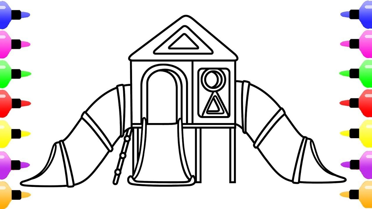 1280x720 How To Draw Playground For Kids Children's Coloring Page
