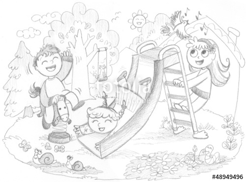 500x370 Playground 3 Happy Kids Playing. Hand Drawn Illustration. Stock