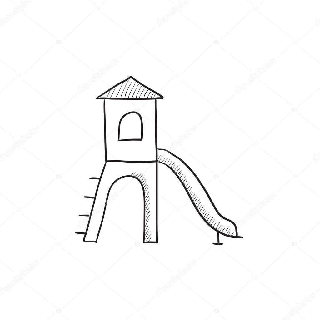 1024x1024 Playground With Slide Sketch Icon. Stock Vector Rastudio