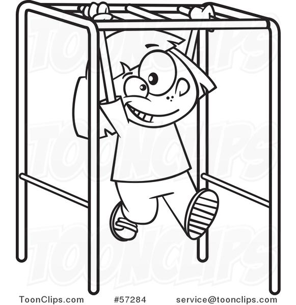 581x600 Cartoon Outline School Girl Playing On Playground Monkey Bars