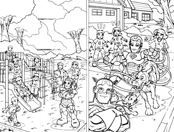 600x456 Super Hero Squad On Playground Coloring Page