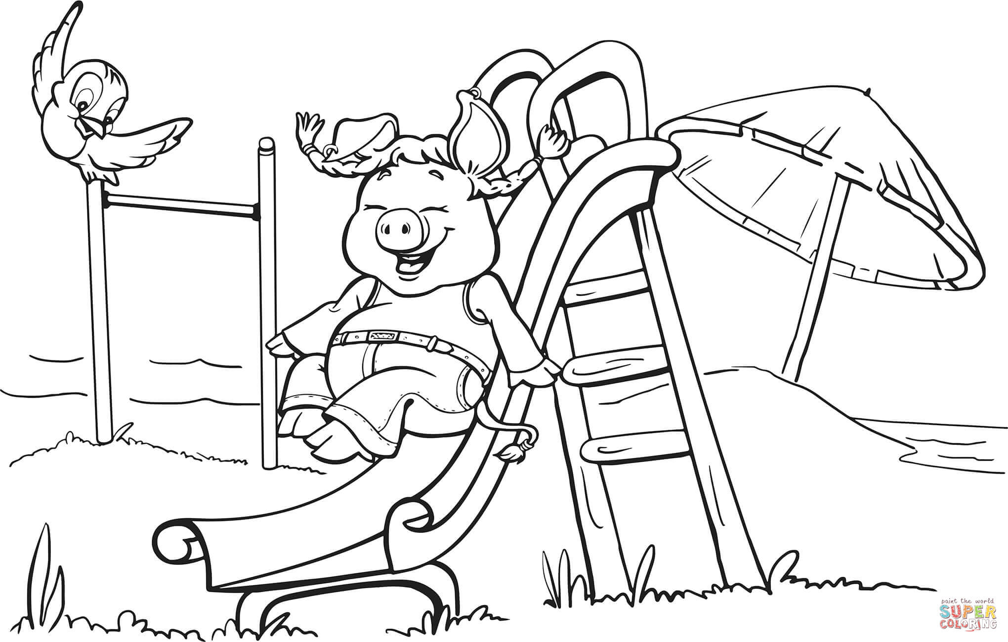 2040x1300 Pig On The Playground Slide Coloring Page Free Printable And Pages