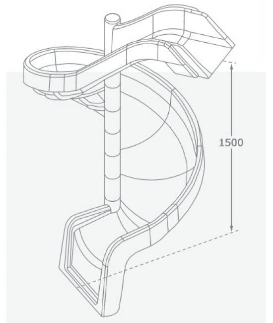 550x650 Playground Spiral Slide To Suit 1.5m Deck Height