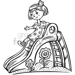 300x300 Royalty Free Girl Playing On A Slide 381530 Vector Clip Art Image