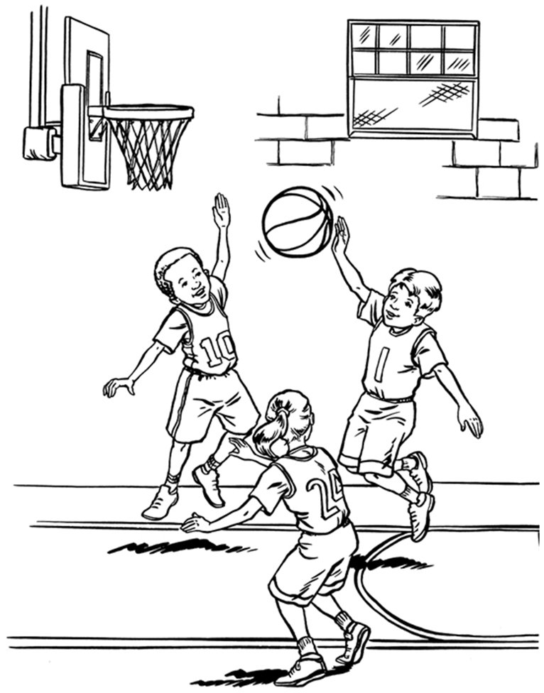 766x976 Coloring Amp Activity Pages Kids Playing Basketball Coloring Page