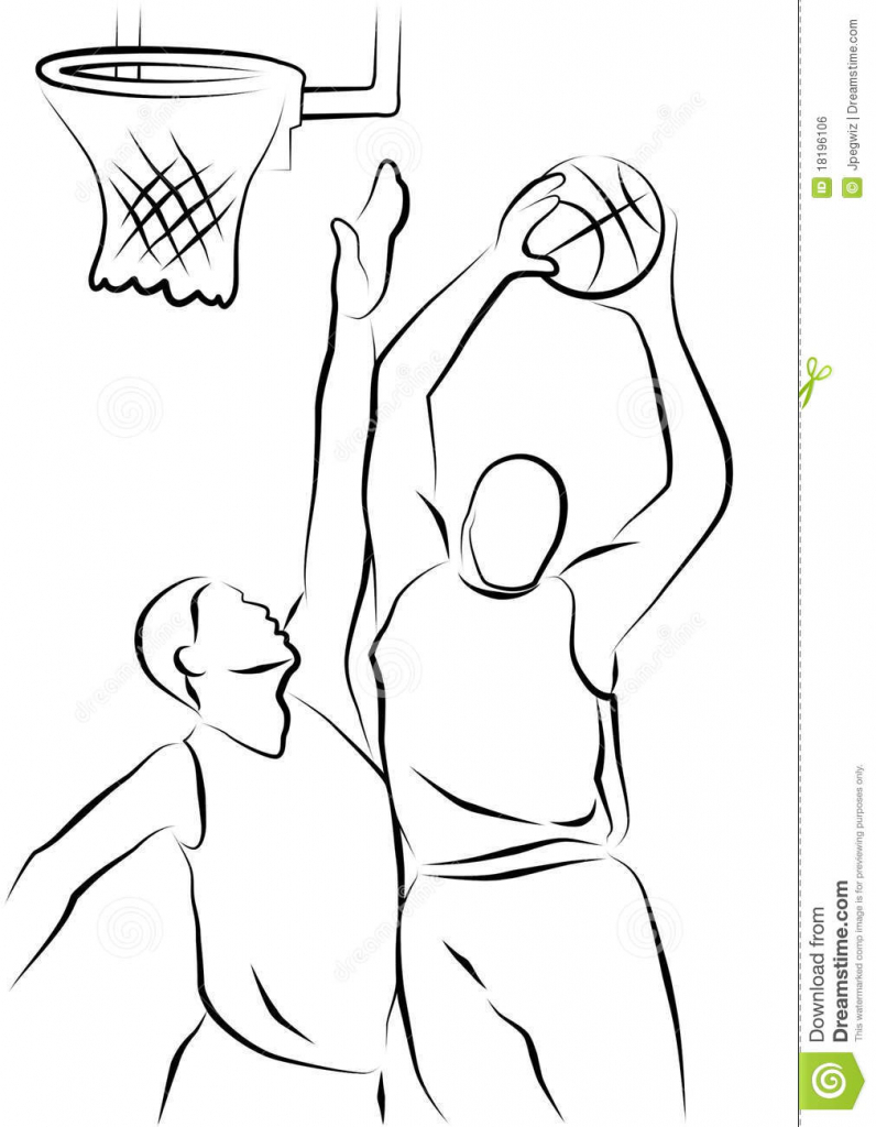 796x1024 Drawing Of Basketball Player Basketball Players Royalty Free Stock