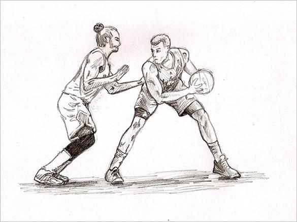 585x437 Fantastic Basketball Drawings To Download! Free Amp Premium