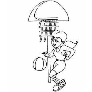 300x300 Girl Play Basketball Coloring Page