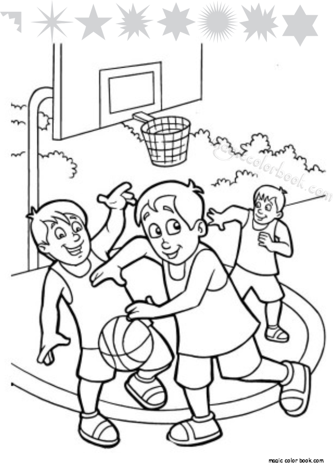 650x904 A Group Of Kids Playing Basketball Coloring Page
