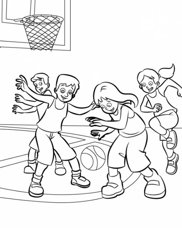 600x752 Playing Basketball Coloring Page Printable Coloring Pages