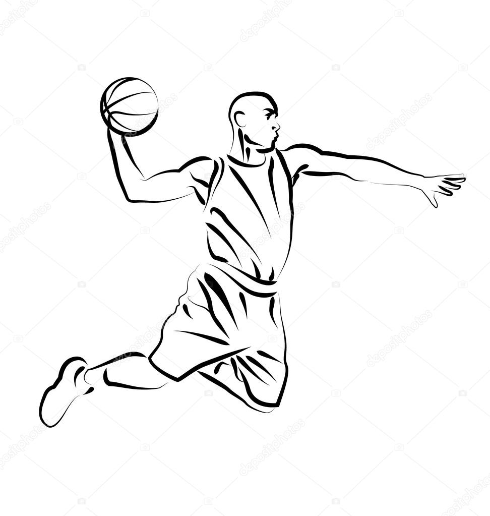 972x1023 Vector Line Sketch Basketball Player Stock Vector Onot
