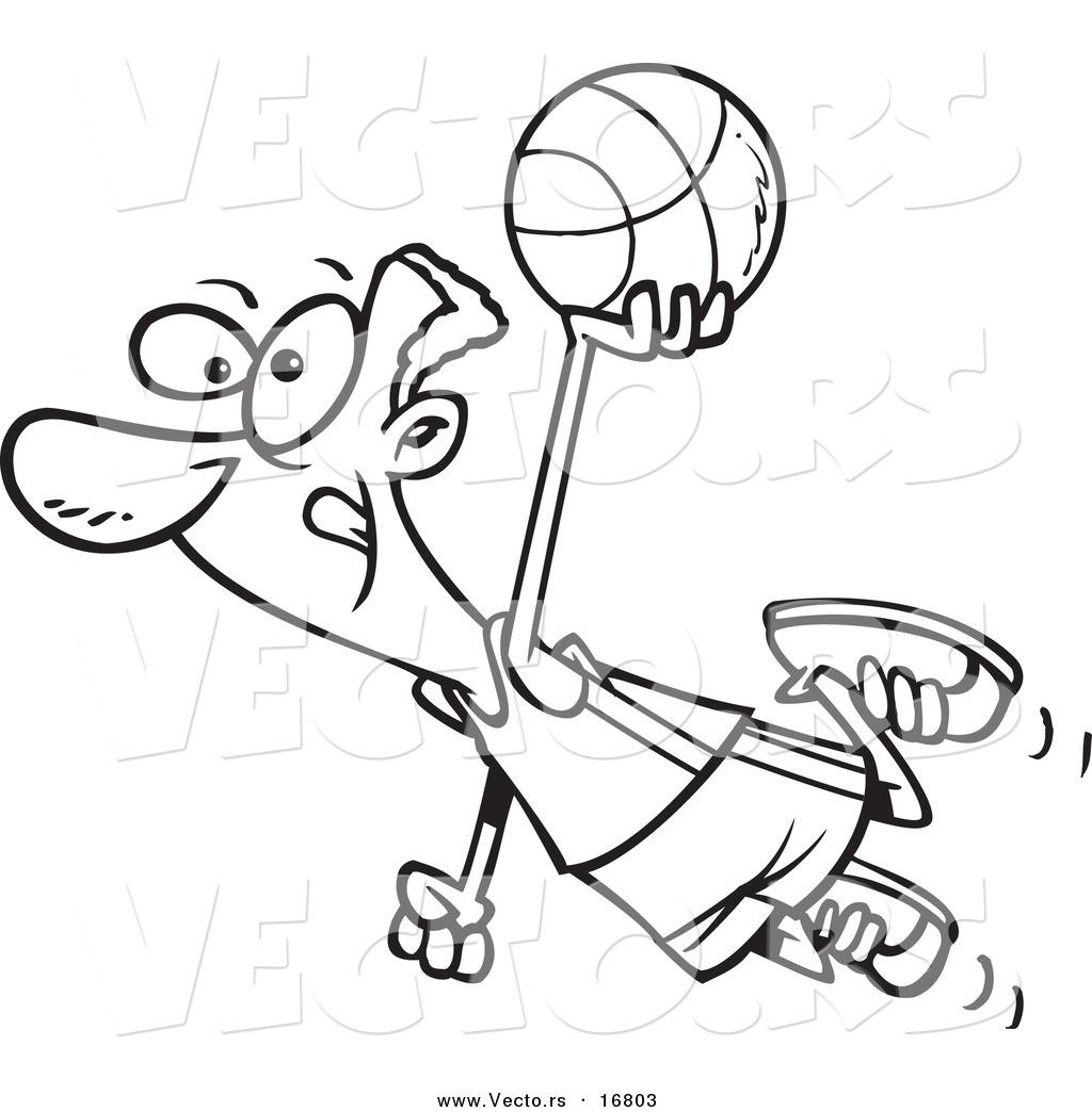 1024x1044 Vector Of A Cartoon Black Basketball Player Flying