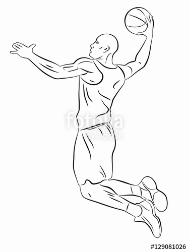 375x500 Silhouette Of A Basketball Player. Vector Drawing Stock Image