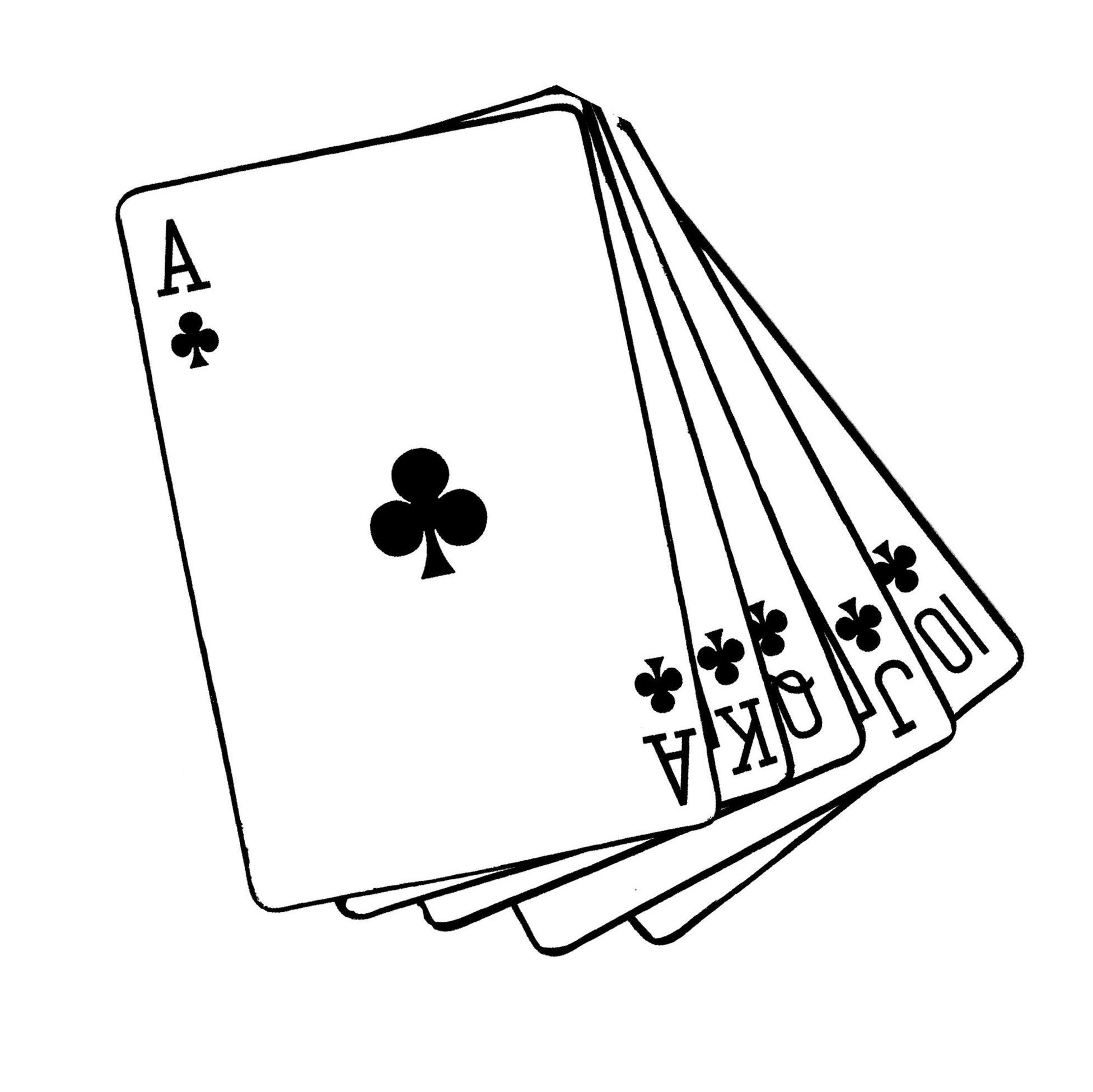 Line Art Card Design : Playing cards drawing at getdrawings free for