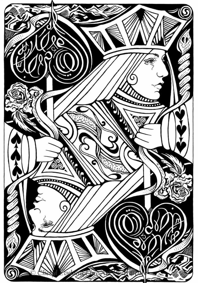 645x921 Queen Of Hearts Art Playing Card Art Playing Cards By Cheryl