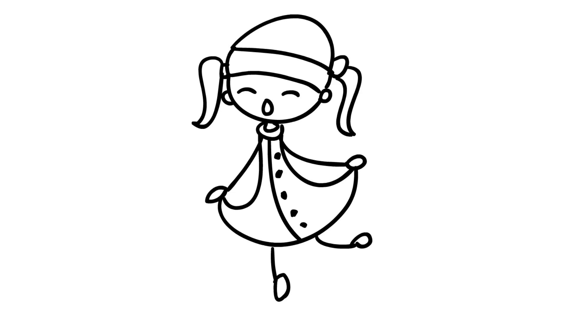 1920x1080 Christmas Kids Playing Line Drawing Illustration Animation