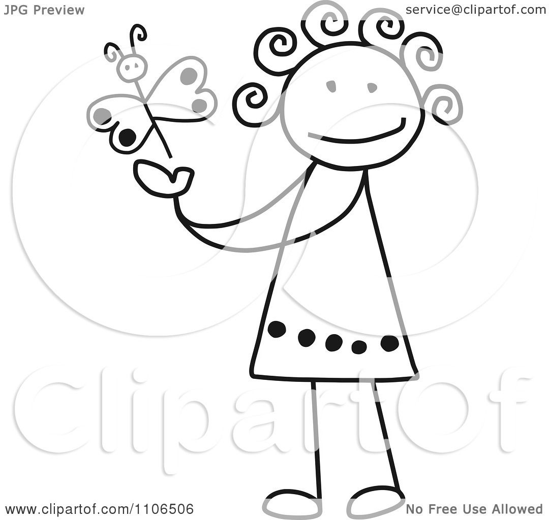 1080x1024 Clipart Black And White Stick Drawing Of A Happy Girl Playing
