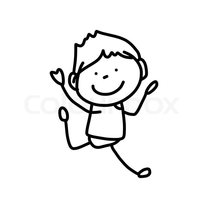 800x800 Hand Drawing Cartoon Character Happy Kids Playing Stock Vector