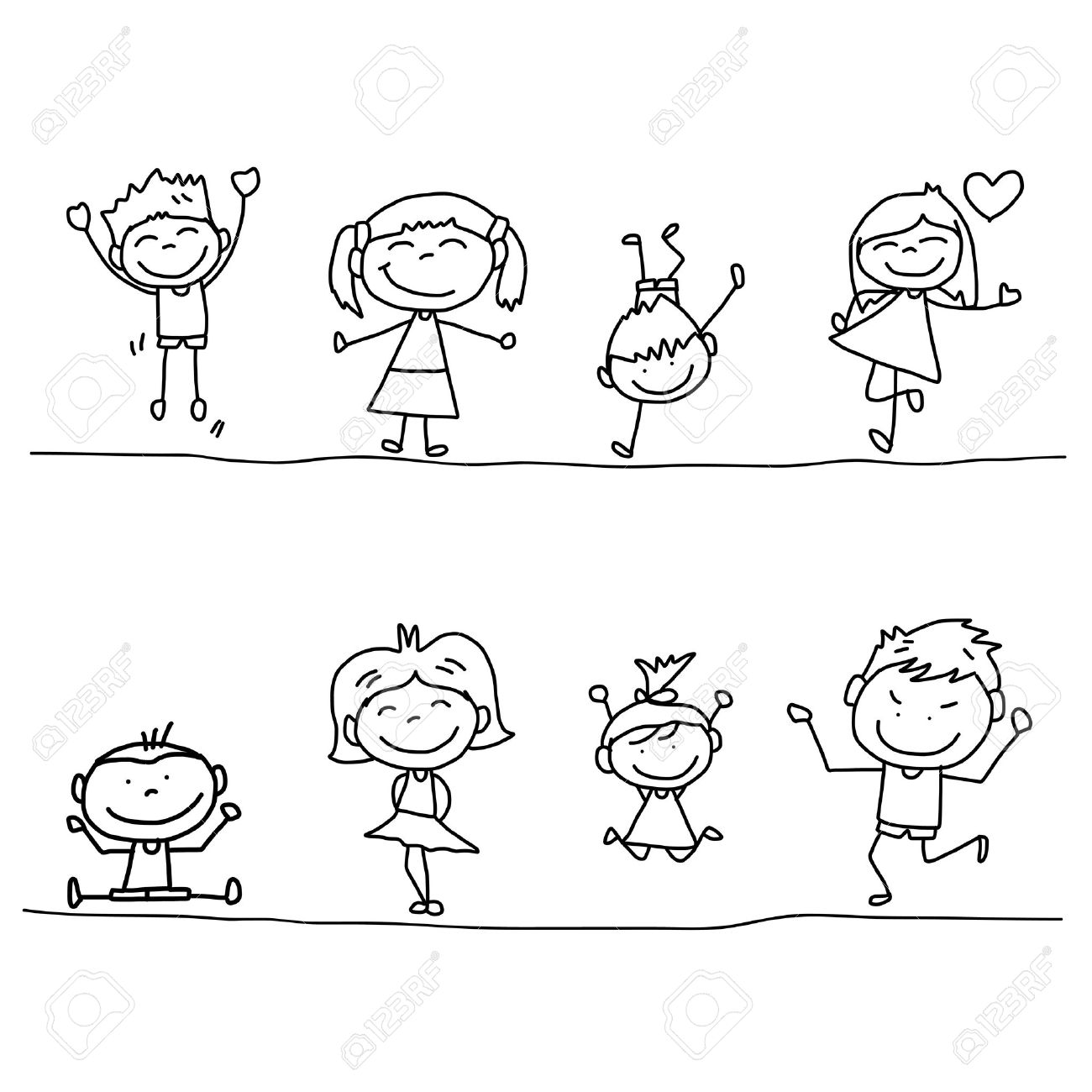 1300x1300 Set Of Hand Drawing Cartoon Happy Kids Playing Royalty Free