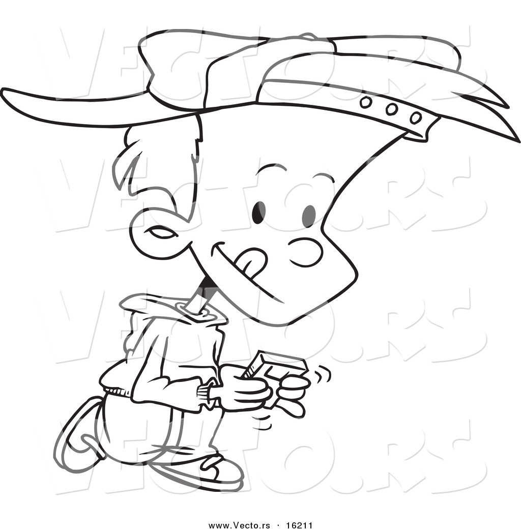 1024x1044 Vector Of A Cartoon Boy Walking And Playing A Video Game